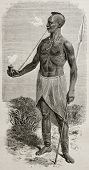 Old illustration of native African in Karague with traditional pipe. Created by Bayard, published on