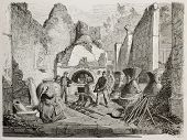 Old illustration of old bakery with bread oven and Roman well preserved stale bread founding in Pomp