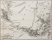 Old map of Grant and Speke explorers from Zanzibar to Kazeh (nowadays Tabora), Tanzania. By unidenti