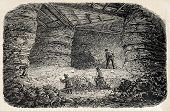 Old illustration of  Buttes Chaumont quarries interior, 19th arrondissement, Paris. Created by Gaildrau, published on L'Illustration, Journal Universel, Paris, 1868