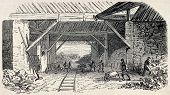 Old illustration of  Buttes Chaumont quarries kilns working, 19th arrondissement, Paris. Created by