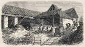 Old illustration of  Buttes Chaumont quarries railway to kilns, 19th arrondissement, Paris. Created