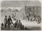 Old illustration of tribal queen audience to Speke and Grant explorers. Created by Bayard, published