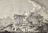 View of the temple of Segesta, western Sicily. By Chatelet and Masquelier, published on Voyage Pitto