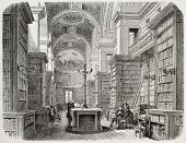 Old illustration of Palais Bourbon library, Paris. Created by Fichot and Cosson-Smeeton, published o
