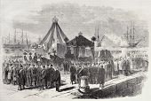 Antique illustration of arrival of Maximilian's I of Mexico body in Trieste (nowadays Italy). Original, from drawing of Pauquet, was published on L'Illustration, Journal Universel, Paris, 1868