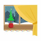 Window Overlooking The Snow In The Night City. Christmas Window With Garland. Flat Cartoon Illustrat poster