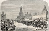 Old illustration of Russian Imperial's family Chasseurs parade in front of Moscow Kremlin. Created by Sorieul, published on L'Illustration Journal Universel, Paris, 1857