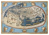 Map of the world (in those days known), after Claudius Ptolemy's work (Egyptian Roman, mathematician