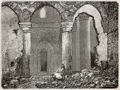 Old illustration of Ayaslug (nowadays Selcuk) mosque ruins, Turkey. Created by Gaiaud after photo of