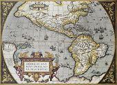 Mapa antigo América, do Theatrum Orbis Terrarum, o primeiro Atlas do mundo. Criado por Abraham Orte