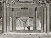 Old illustration of British Legation in Beijing. Created by Therond, published on Le Tour du Monde,