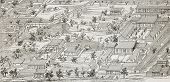 Old illustration of French legation in Beijing, general plan. Created by Lancelot after drawing of u