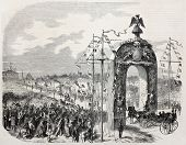 Old illustration of Napoleon III and Empress Eugenie entering Le Havre under  Triumphal Arc. Created by Barbin, published on L'Illustration Journal Universel, Paris, 1857