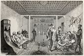 Old illustration of konak interior in Aksaray, Turkie. Created by Castelli, published on Le Tour du