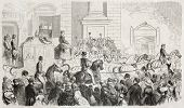 Old illustration of Pope Pio IX arrival in Florence. Created by Worms after sketch of Levasseur, published on L'Illustration Journal Universel, Paris, 1857