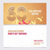 60 Years Anniversary Invitation Vector Illustration. Design Element With Golden Abstract Background  poster