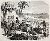 Old illustration of British soldiers defending against insurgents near Delhi. Created by Janet-Lange