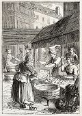 Old illustration of fish market. Created by Godefroy-Durand, published on L'Illustration Journal Universel, Paris, 1857