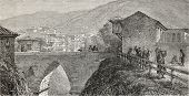 Old illustration of a bridge over Guek-Sou stream, Bursa, Turkey. Created by Gaiaud, published on Le