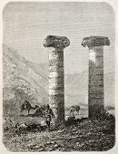 Old illustration of Cybele temple columns in Sardis, Aegean region, Turkey. Created by Gaiaud, publi
