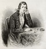 Old engraved portrait of Alexander Wilson, poet, naturalist, ornithologist. Created by Paquet after