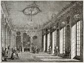 Old illustration of Hotel de Villars interior, Paris. Created by Davioud, published on Magasin Pitto