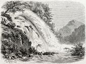 Old illustration of Calcaggia waterfalls, canton Ticino, Switzerland. Created by Freeman, published on L'Illustration Journal Universel, Paris, 1857