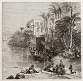 Old illustration of Trajan kiosk, hypaethral temple, today in Agilkia Nile island, transported from