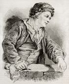Old engraved self-portrait of Charles Andre van Loo, French painter of Dutch origin. Created by Geoffroy after painting of van Loo, published on Magasin Pittoresque, Paris, 1850