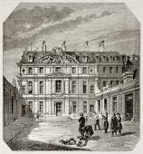 Old exterior view of Ecole centrale des arts et manufactures, Paris. Created by Therond, published o