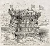 Old illustration of defensive fortification during the siege of La Rochelle. By unidentified author, published on Magasin Pittoresque, Paris, 1850