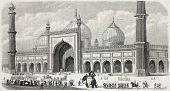 Old illustration of Jama Masjid, the principal mosque in Old Delhi. Created by Freeman, published on L'Illustration Journal Universel, Paris, 1857