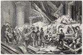 Old illustration of rescue operations after Vincennes castle tower collapse. Created by Peyronnet, published on L'Illustration Journal Universel, Paris, 1857