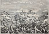 Old illustration of the taking of Malakoff by French army during Crimean war. Created by Yvon, publi
