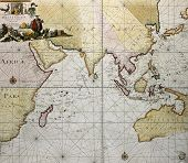 Indian ocean old map, southern Asia, eastern Africa and west Australia. Created by Hendrick Doncker,