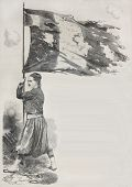Old illustration of Corporal Lihat, Zuave in the French Army, holding flag for the Malakoff taking d