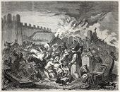 Old illustration depicting torment of Jews. Created by Beyer and De Strasbourg, published on L'Illus
