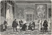 Old illustration depicting Charles V in Saint-Just monastery. Created by Fleury, published on L'Illu