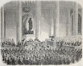 Old illustration of Marie-Francoise Xavier Bichat statue inauguration. Created by Janet-Lange, publi