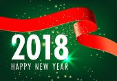 Happy New Year With Red Band Green Greeting Card Design. Inscription With Red Band, Sparkles On Gree poster