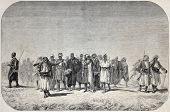 Old illustration of Egyptian recruits crossing the desert. Created by Gerome, published on L'Illustration, Journal Universel, Paris, 1857