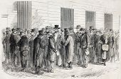 Old illustration of Legion of Honour veterans waiting for imperial decoration. Created by Godefroy-D