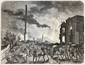 Old illustration of fire in Saint-Mande, near Paris. By unidentified author, published on L'Illustration, Journal Universel, Paris, 1857