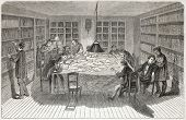 Old illustration of a workers library in Paris. Created by Flemeng, published on L'Illustration, Journal Universel, Paris, 1857