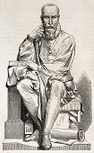 Old illustration of a statue of Ambroise Pare, French surgeon for king Henri II. Created by Varnier,