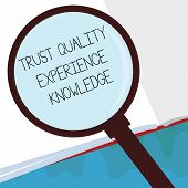 Handwriting Text Trust Quality Experience Knowledge. Concept Meaning Customer Quality Service And Sa poster