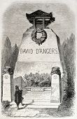 Old illustration of funereal monument of David d Angers, French sculptor. Created by Provost, published on L'Illustration, Journal Universel, Paris, 1857
