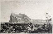 Постер, плакат: Старый вид Гибралтара Созданный Бентли и Fiuden Опубликовано Il Mediterraneo Illustrato духовный