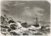Old Illustration of a storm damaging ships in the cost of Macao. Created by De Berard, published on
